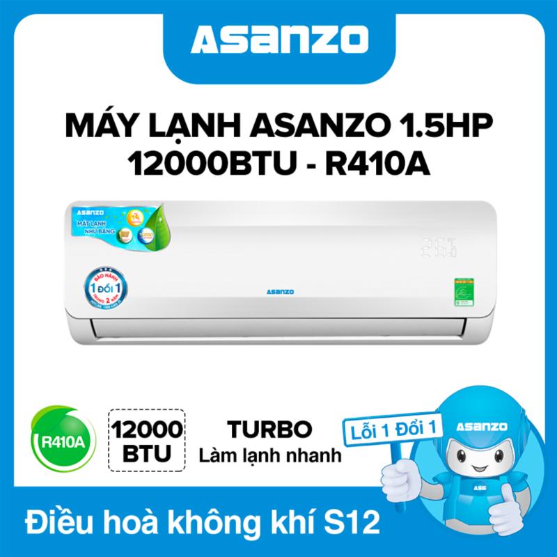 Máy Lạnh Asanzo S12A 12000BTU (1.5HP) Phù Hợp Diện Tích 16-22m² (Siêu Tiết Kiệm, Làm Lạnh Nhanh, Tự Điều Chỉnh Nhiệt Độ, Lọc Không Khí) Máy lạnh giá rẻ - Bảo Hành 2 Năm