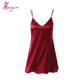 HISEXY Váy Ngủ, Đầm Ngủ 2 Dây, Đồ Ngủ Mặc Nhà Nữ Liền Thân Chất Lụa Satin Cao Cấp Đủ Size Dưới 85Kg MD08 thumbnail