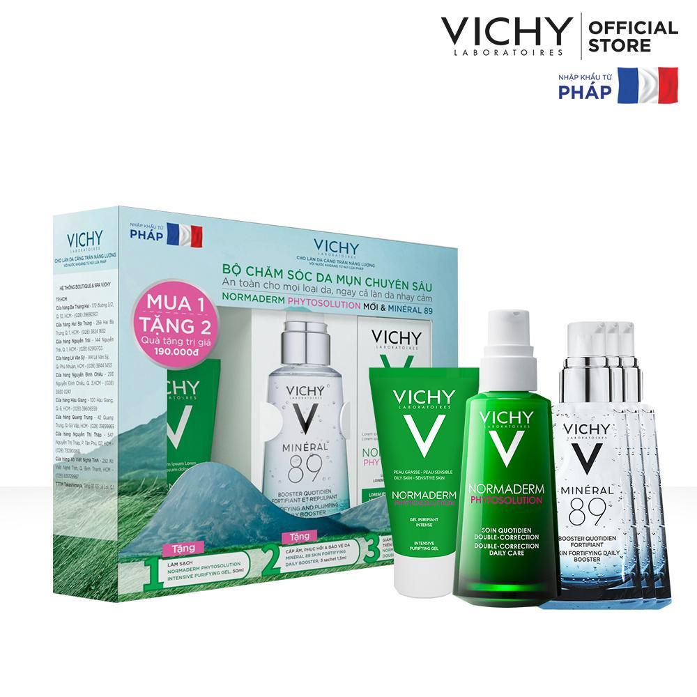 Bộ chăm sóc da chuyên sâu giúp giảm dầu giảm mụn, phục hồi và nuôi dưỡng da Vichy Normaderm Phytosolution Double-Correction Nhật Bản
