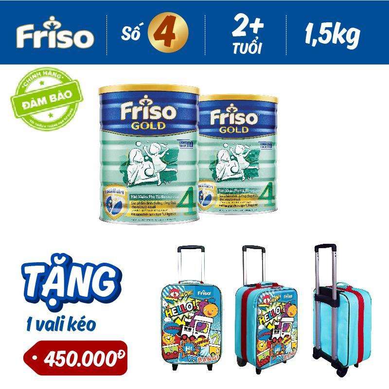 Bộ 2 Sữa bột Friso Gold 4 1.5kg + Tặng 1 Vali kéo trị giá 450.000 VND
