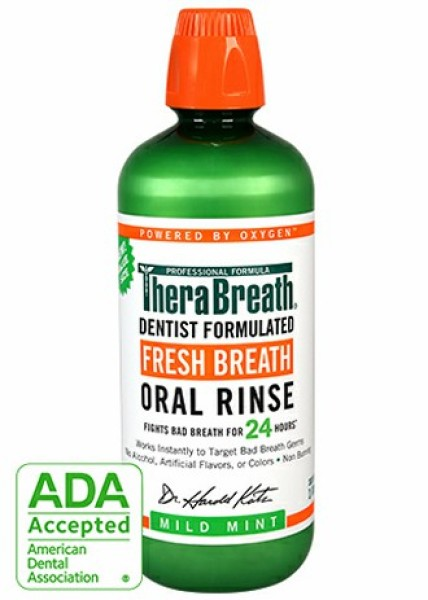 [Date 7/2023] Nước súc miệng trị hôi miêng TheraBreath 473ml Green Xanh lá. TheraBreath Fresh Breath Oral Rinse, Mild Mint, 16 Ounce Bottle giá rẻ