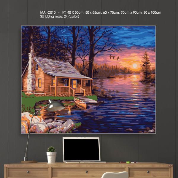 Tranh sơn dầu số hóa Cảnh nhà bên sông thơ mộng Mã C010 - Kích thước 40x50cm