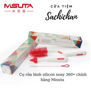 [Bộ gồm 3 sản phẩm] Bộ cọ rửa bình sữa, núm ti cho bé - Chất liệu silicon cao cấp, đầu xoay 360 độ - Chính hãng Misuta thumbnail