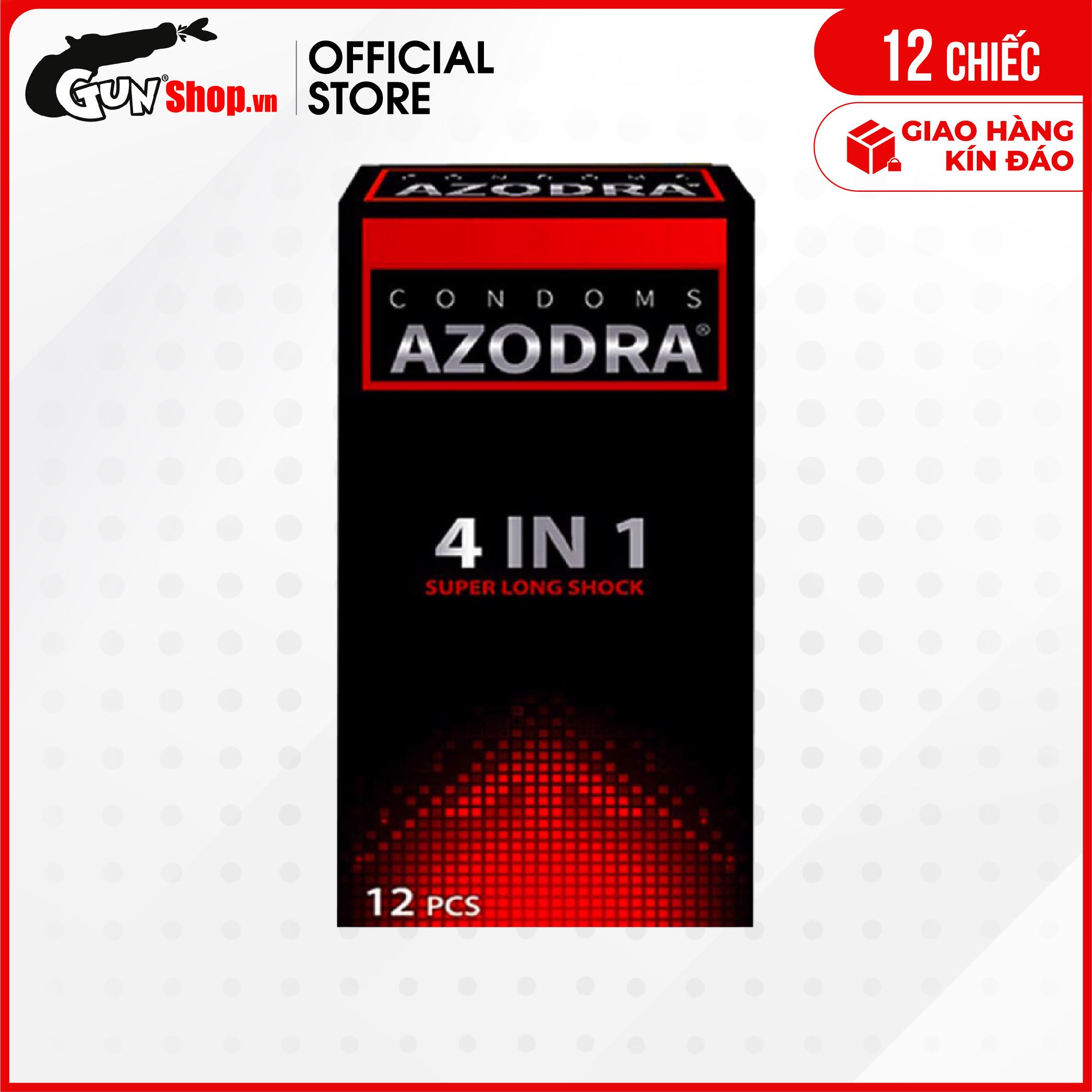 [Hộp 12 cái] Bao cao su Azodra 4 in 1 - Kéo dài thời gian  | GUNSHOP