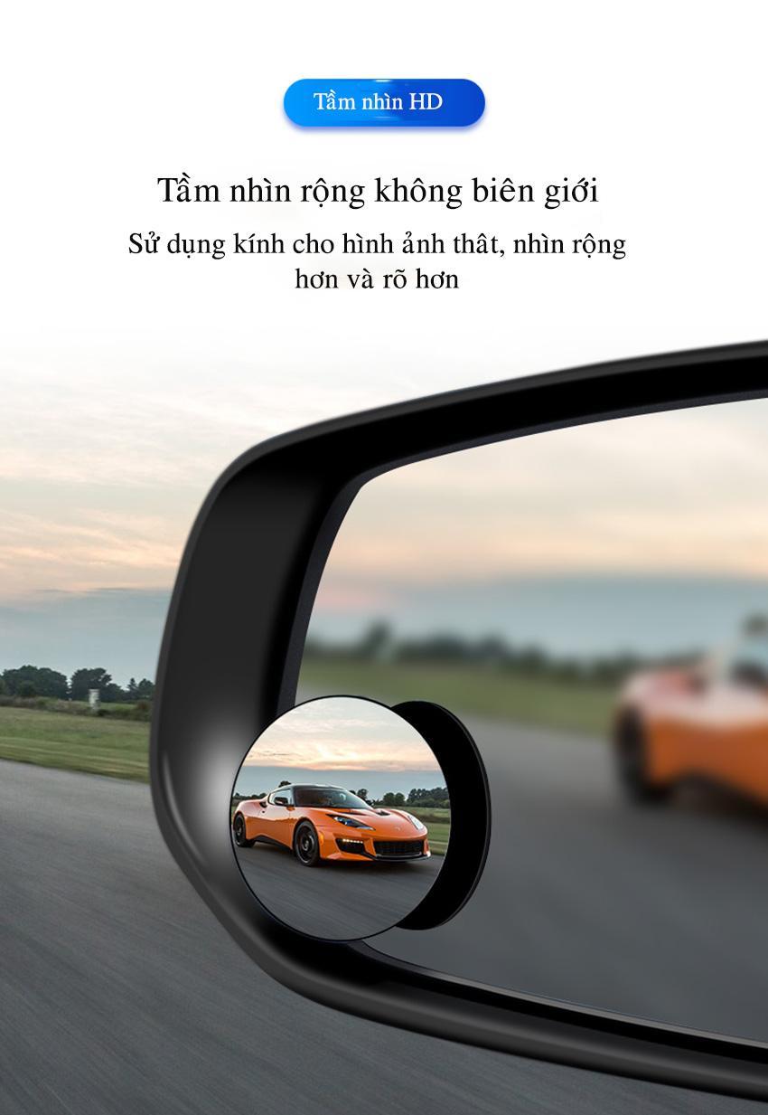 [Xả kho giá gốc] Bộ 2 gương cầu kính lồi 5cm chiếu hậu tăng góc quan sát xóa điểm mù cho xe hơi xe tải tăng độ an toàn hít chân không hoặc dán trực tiếp - HONG LONG