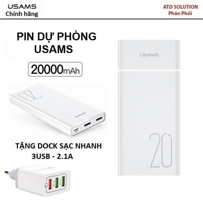 Giá USAMS Pin dự phòng 20.000 MAh - hàng hiệu chất lượng cực tốt (tặng dock sạc nhanh 3 USB-2.1A quà tặng siêu hấp dẫn)