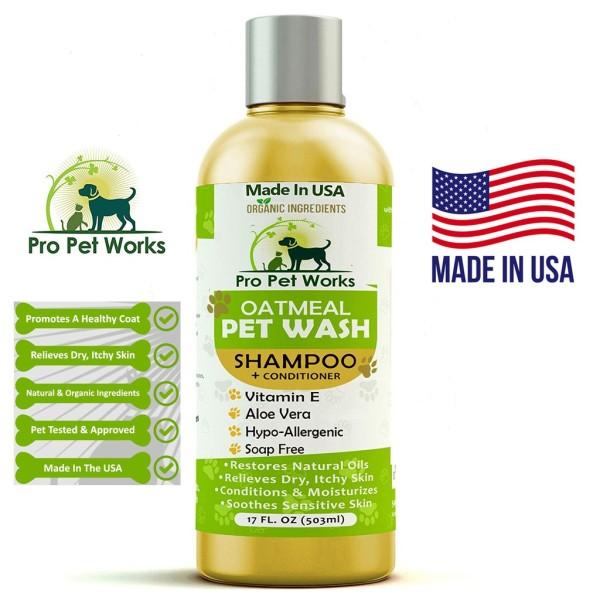 Dầu Tắm, Sữa Tắm Cho Thú Cưng OATMEAL PET WASH - Pro Pet USA - Diệt Khuẩn Trị Nấm Chó Mèo, Bestseller tại Mỹ| 500ml