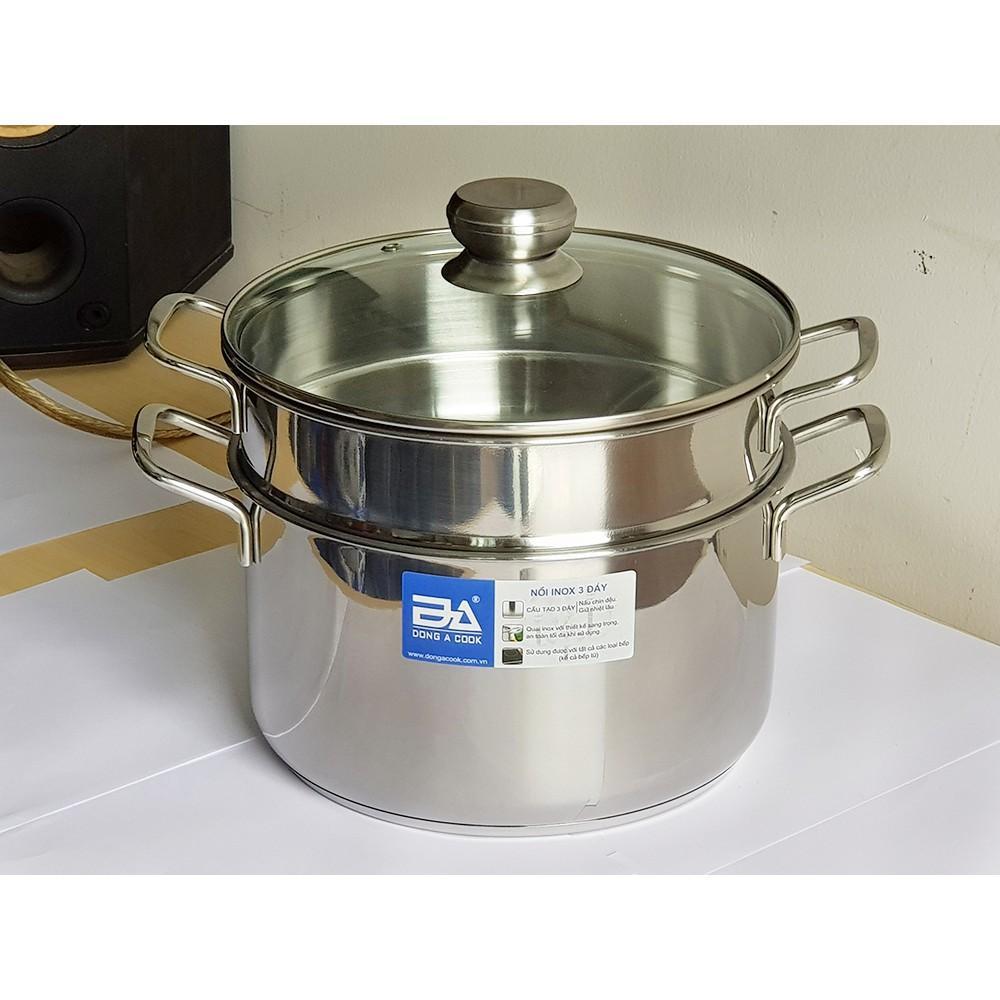 Xửng hấp inox 3 đáy Đông Á DA326-XHK Size 26cm dùng được trên bếp từ