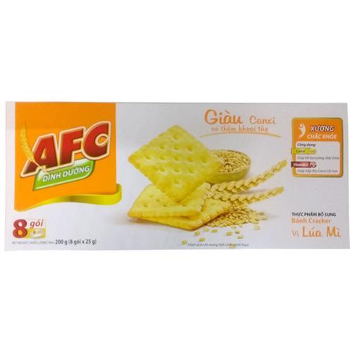 Bánh quy giòn AFC vị lúa mì hộp 200g (8 gói x 25g)