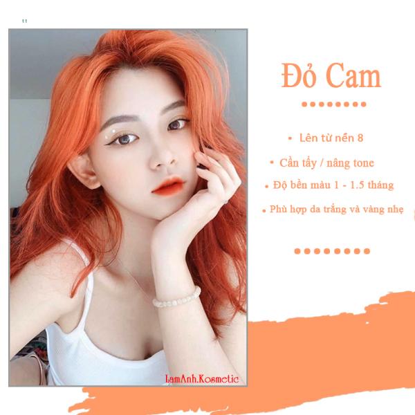 Thuốc nhuộm tóc màu ĐỎ CAM - ORANGE RED màu nhuộm lên chuẩn tone kem nhuộm an toàn không sót mùi thơm nhập khẩu