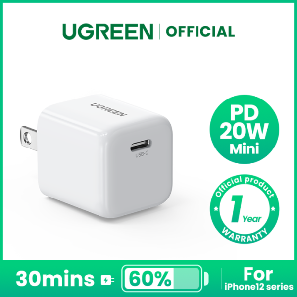 UGREEN Mini 20W USB C Charger PD Fast Charger Block USB-C Power Adapter Compatible for iPhone 13/ 13 Pro/ 13 Pro Max/ 12/12 Mini/12 Pro/12 Pro Max/11, Galaxy, Pixel 4/3, iPad Pro, AirPods Pro