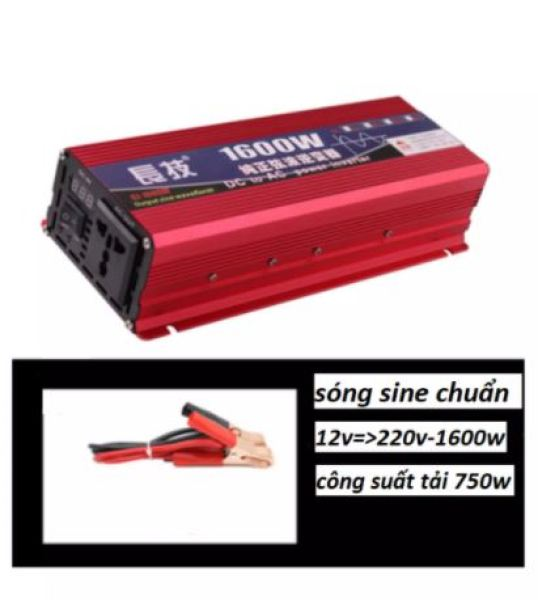 Bộ đổi điện-Bộ kích nguồn điện sóng sine chuẩn 1600w từ 12v lên 220v - 1600w - Bảo vệ:Quá tải, quá áp, ngắn mạch, nhiệt độ, kết nối ngược. -Bộ đổi điện sin chuẩn giúp nâng cao tuổi thọ của các thiết bị điện