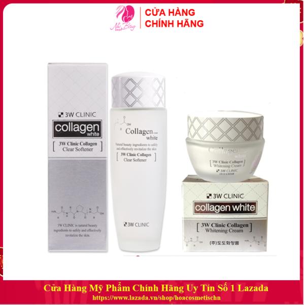 Bộ dưỡng da - Bộ dưỡng trắng da dưỡng ẩm chiết xuất Collagen 3W Clinic Hàn Quốc [Nước hoa hồng-Kem dưỡng da / Hàng Nhập Khẩu Hàn Quốc]