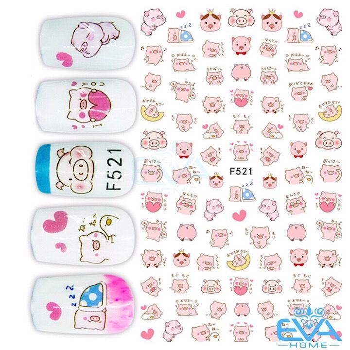 Miếng Dán Móng Tay 3D Nail Sticker Hoạt Hình Chú Heo Dễ Thương cute F521 tốt nhất