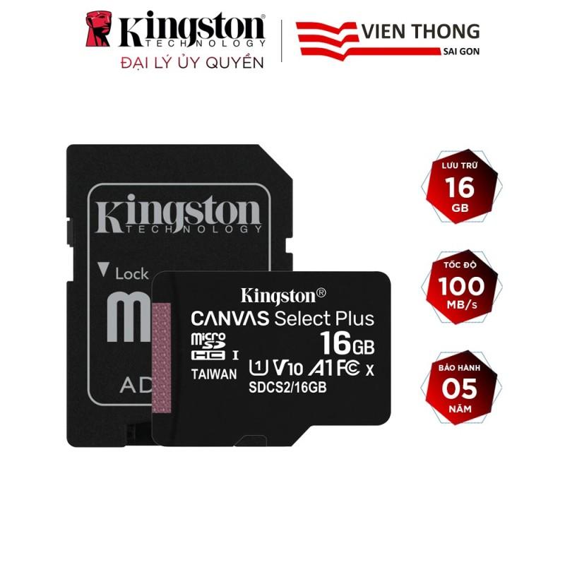Thẻ nhớ micro SDHC Kingston 16GB Canvas Select Plus upto 100MB/s + Adapter - Hãng phân phối chính thức