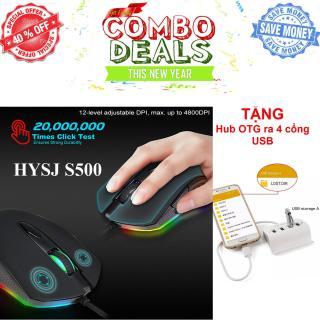 Tặng Hub OTG 4 Cổng USB-Chuột Gaming HXSJ S500-LED 7 màu cực đẹp cực sáng-chuột chơi game 6 phím lập trình RGB 12 cấp độ chỉnh DPI 200-4800 dpi - Chuột Gaming HXSJ S500 RGB Gaming Mouse-Chuột chơi game S500 LED RGB Chuyên Dành Cho Game Thủ thumbnail