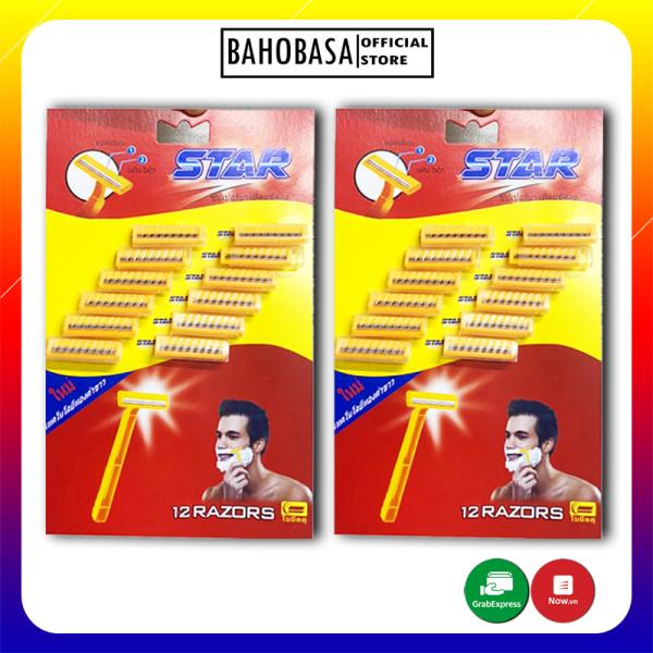 [HCM]Combo 24 dao cạo râu cán vàng Thái Lan Star