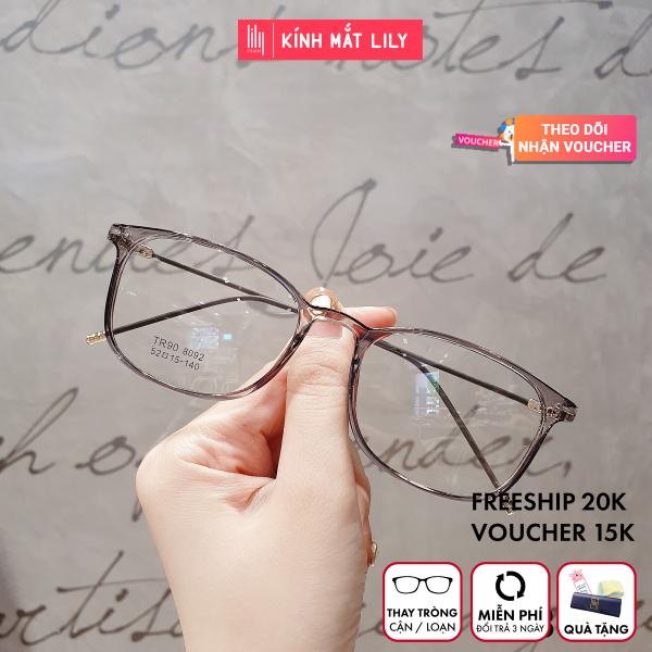 Giá bán Gọng kính cận nam nữ Lilyeywear nhựa dẻo mắt tròn vuông nhiều màu - 8092