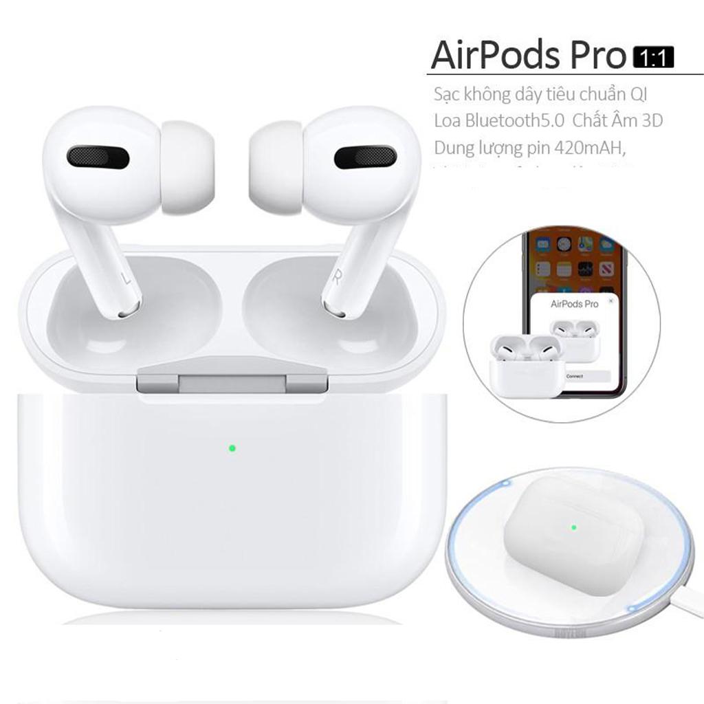 Tai nghe Bluetooth AirPods Pro 1.1 SIÊU CẤP - Tai nghe không dây Tự động kết nối, Cảm biến dừng nhạc, Định vị Đổi tên, Cách âm, Chống ồn, Trả lời cuộc gọi, Cảm ứng lực