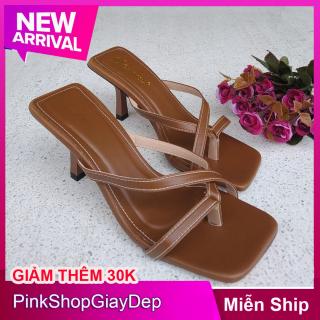 (Miễn ship) Dép cao gót 5 phân gót nhọn quai dây xỏ ngón chất liệu da DXN5P PinkShopGiayDep giày búp bê nữ cao 5 phân thumbnail