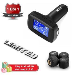 Cảm biến áp suất lốp gắn tẩu 12v trên ô tô - TPMS 12v Tặng kèm Chữ 3D nổi Limited trang trí xe hơi thumbnail