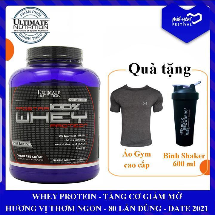 Sữa tăng cơ Prostar 100% Whey Protein của Ultimate Nutrition hộp 80 lần dùng hỗ trợ tăng cơ giảm cân, giảm mỡ bụng, tăng sức bền sức mạnh vượt trội cho người tập GYM và chơi thể thao - Phân phối chính thức chính hãng
