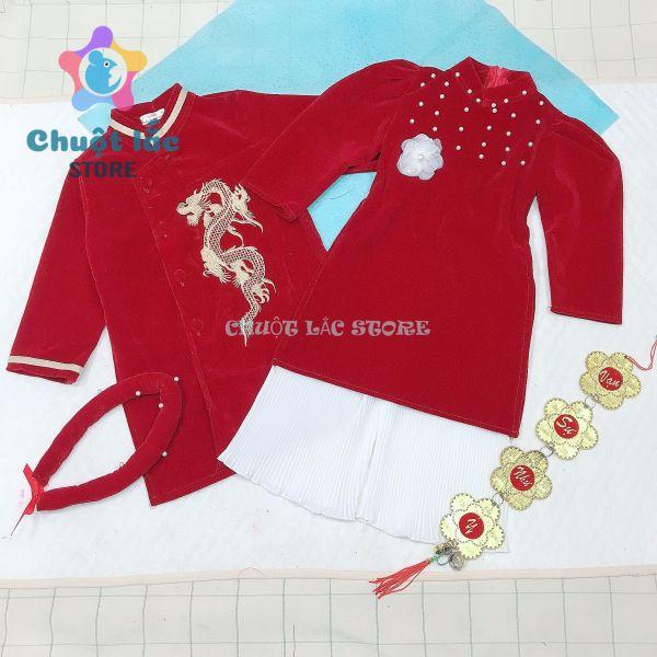 Áo dài cách tân bé trai bé gái diện Lễ Tết chất nhung mềm cho bé từ 12kg đến 25kg ( màu đỏ đô)