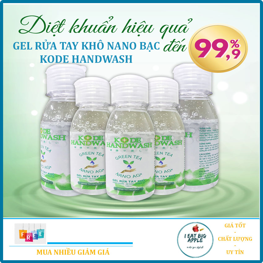 [COMBO 2 CHAI] Gel rửa tay khô Nano Bạc - KODE Handwash 100ml - IEATBIGAPPLE STORE