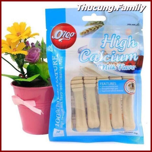 Xương nhai bổ sung Canxi, Làm sạch răng- giúp hơi thở thơm tho.Orgo vị sữa- vị bò- vị bạc hà 90g/gói.