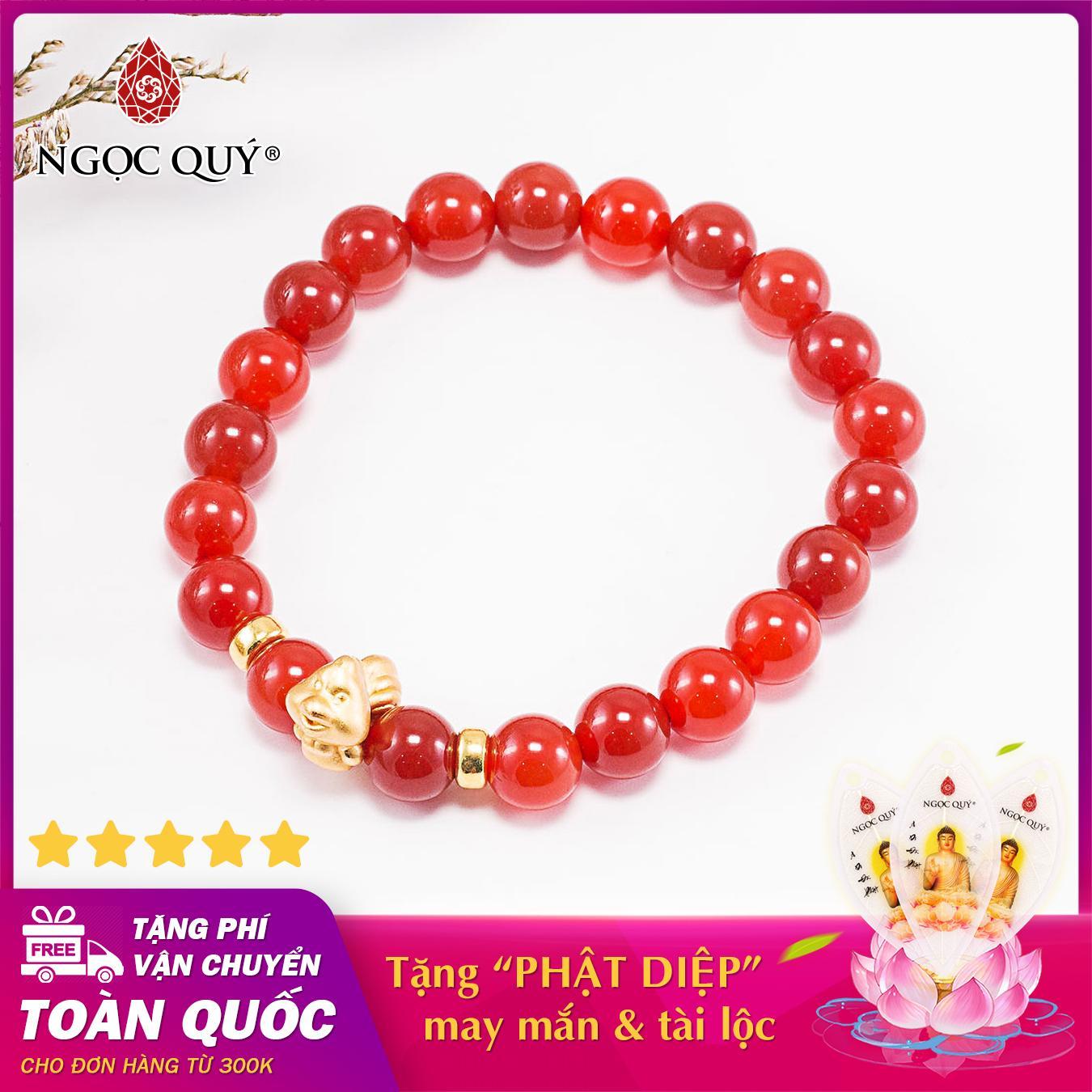 Vòng tay phong thủy đá mã não đỏ charm tuổi tuất bạc mạ vàng 24k 8mm mệnh hỏa , thổ - Ngọc Quý Gemstones