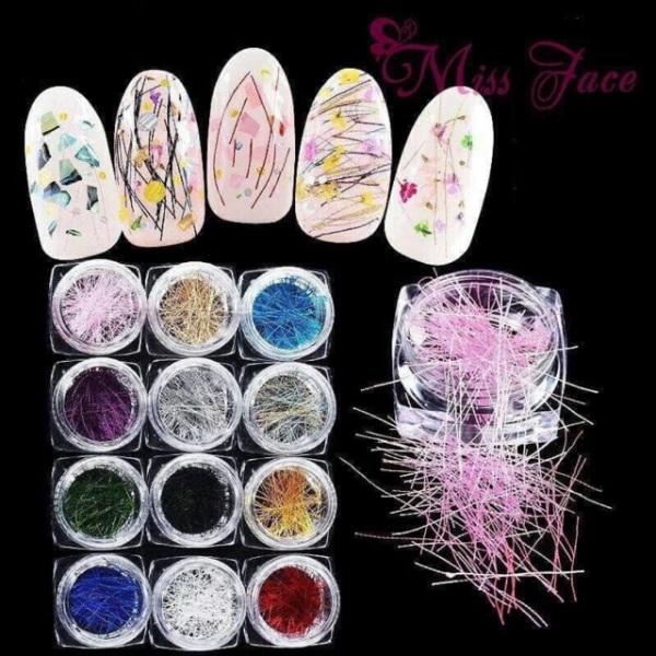 sét Nhũ sơi tóc 12 màu trang trí chăm sóc móng làm nail theo phong cách Hàn Quốc nailart giá rẻ