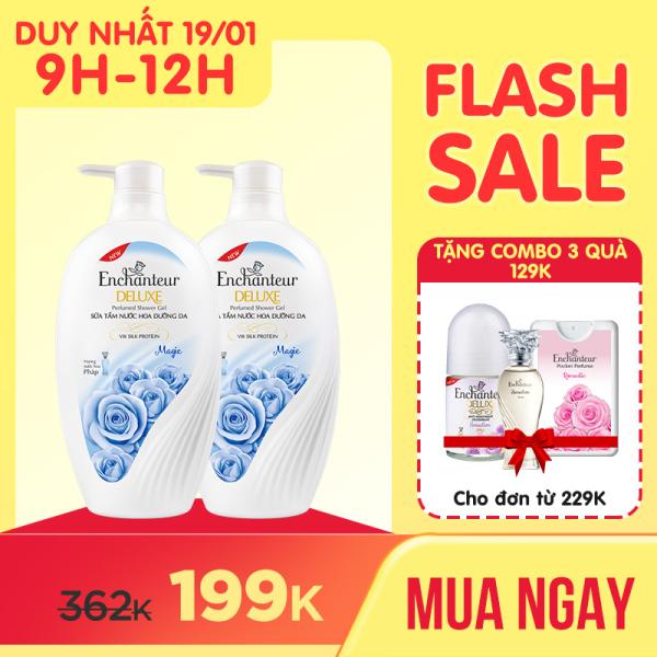 Combo 2 Sữa tắm hương nước hoa Enchanteur Sensation/ Delightful/ Romantic/ Magic 650gr/ Chai giá rẻ