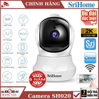 (Tùy Chọn Kèm Thẻ nhớ 128Gb), CAMERA WIFI SRIHOME SH020 - 3.0Mpx , Đàm thoại 2 chiều, cảnh báo chuyển động, Xoay 360 Camera IP Wifi giám sát, quan sát không dây , camera mini , camera an ninh , camera wifi trong nhà ,camera không dây thumbnail