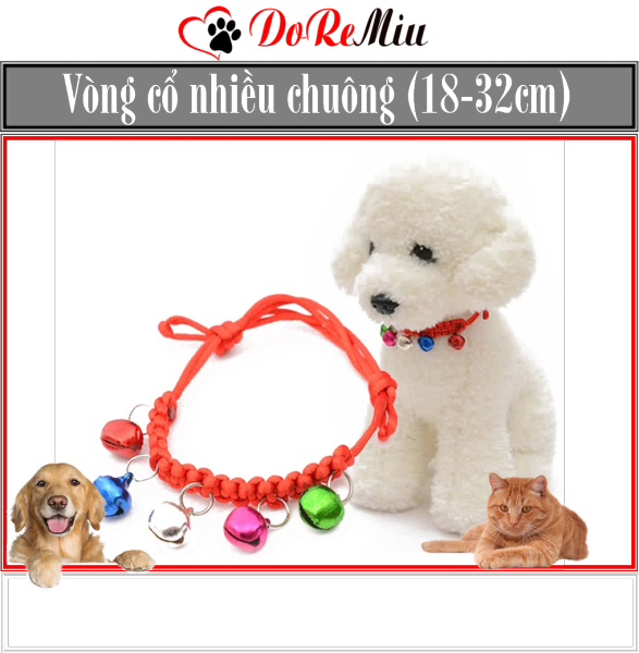 Doremiu- Vòng cổ chó mèo Vòng cổ tết nhiều chuông dây đeo cổ lục lạc chó mèo dưới 7kg