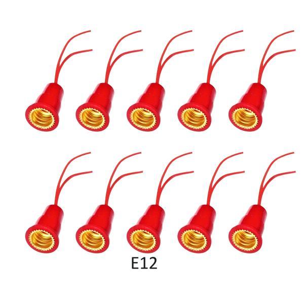 Bảng giá 10 Đui đèn E12 đuôi xoáy 12mm dùng cho bóng đèn quả nhót quả ớt trang trí LH-E12