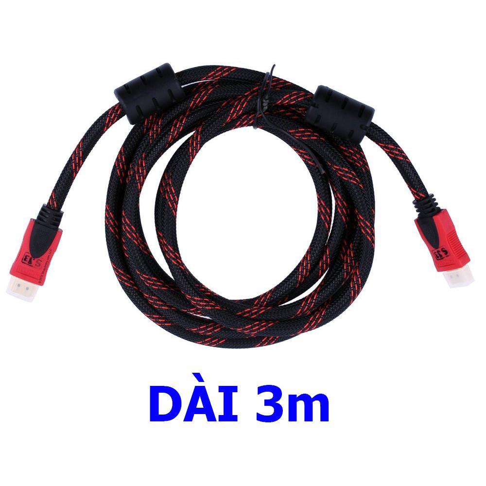 Dây cáp 2 đầu HDMI 3m 1.5m bọc lưới chống nhiễu full HD 1080P cao cấp