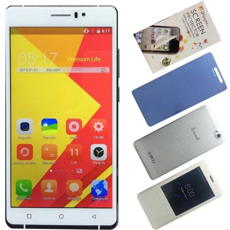 Bộ 1 Arbutus AR6 Plus 8GB (Trắng) + 1 Bao da + 1 Kính cường lực + 1 Ốp lưng + 1 Dán màn hình - Hàng nhập khẩu