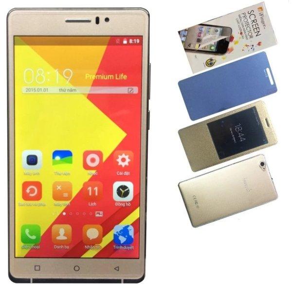 Bộ 1 Arbutus AR6 Plus 8GB (Vàng) + 1 Bao da + 1 Kính cường lực + 1 Ốp lưng + 1 Dán màn hình - Hàng nhập khẩu