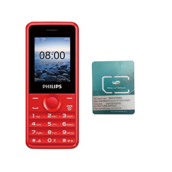 Bộ 1 ĐTDĐ Philips E103 4MB 2 Sim (Đỏ) - Hãng phân phối chính thức + 1 Sim Viettel