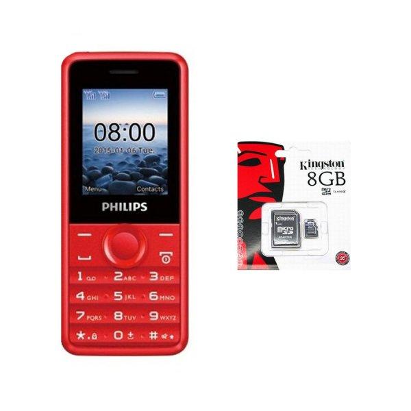 Bộ 1 ĐTDĐ Philips E103 4MB 2 Sim (Đỏ) - Hãng phân phối chính thức + 1 Thẻ nhớ MicroSD 8GB Class 4