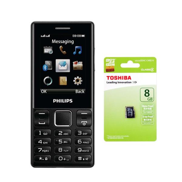 Bộ 1 ĐTDĐ Philips E170 2 Sim (Đen) - Hãng phân phối chính thức + 1 Thẻ nhớ MicroSD 8GB Class 4