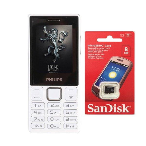 Bộ 1 ĐTDĐ Philips E170 2 Sim (Trắng) - Hãng phân phối chính thức + 1 Thẻ nhớ MicroSD 8GB Class 4