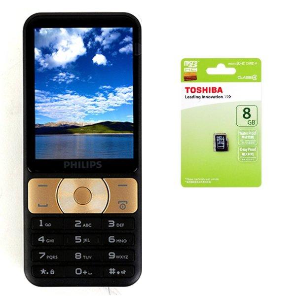 Bộ 1 ĐTDĐ Philips E180 2 SIM (Đen Vàng) + 1 thẻ nhớ MicroSD 8GB Class 4