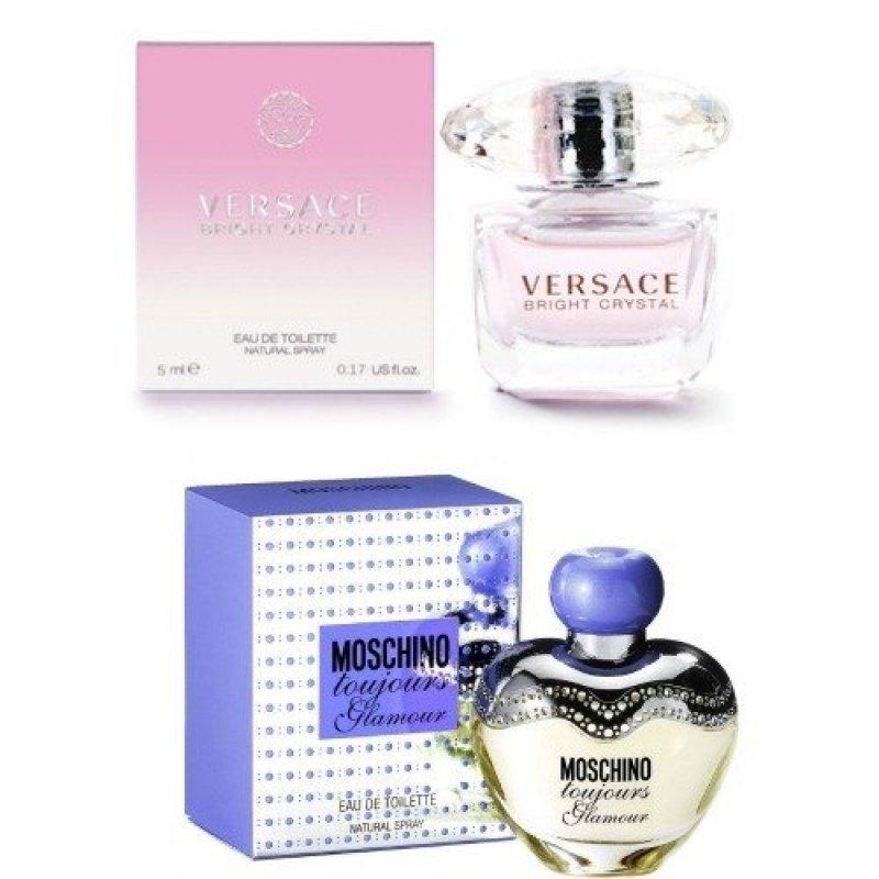 Bộ 1 nước hoa nữ Versace Bright Crystal  Eau de Toilette 5 ml  và 1 nước hoa nữ Moschino Toujours Glamour Eau de Toilette 5ml