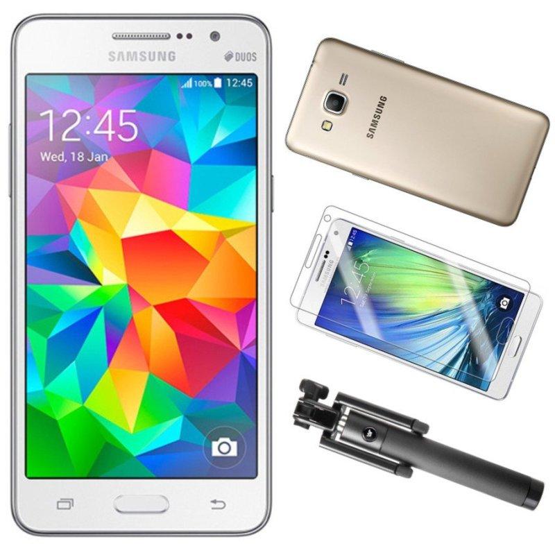 Bộ 1 Samsung Galaxy Grand Prime G530 8GB (Trắng) - Hàng nhập khẩu + 1 Gậy Chụp Hình + 1 Dán Cường Lực + 1 Ốp Lưng