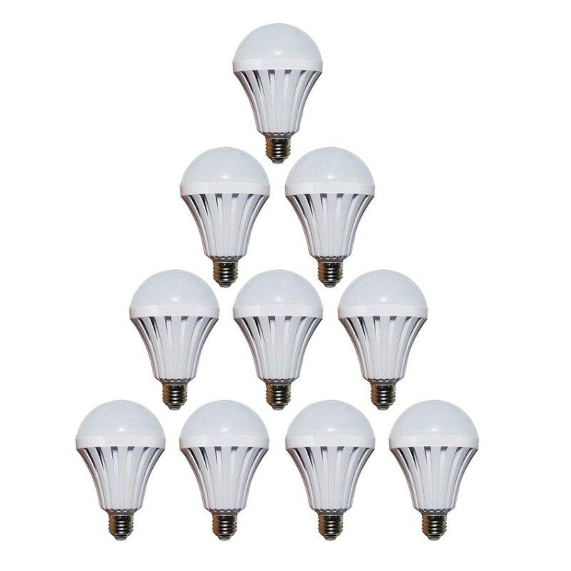 Bộ 10 bóng đèn Led Bulb tích điện thông minh SmartCharge 12W ánh sáng trắng (Trắng)