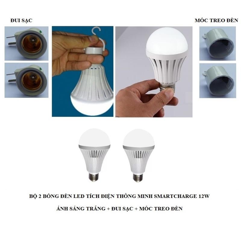 Bộ 2 bóng đèn tích điện thông minh SMARTCHARGE 12W (Ánh sáng trắng) + Đui sạc + Móc treo đèn