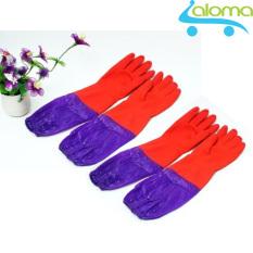 Bộ 2 đôi găng tay cao su lót vải nỉ ấm tay