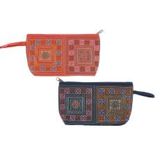 Bộ 2 Túi đựng mỹ phẩm thổ cẩm họa tiết hoa văn Hoian Gifts HA-14A