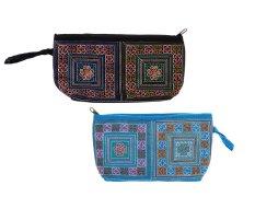 Bộ 2 Túi đựng mỹ phẩm thổ cẩm họa tiết hoa văn Hoian Gifts HA-14B